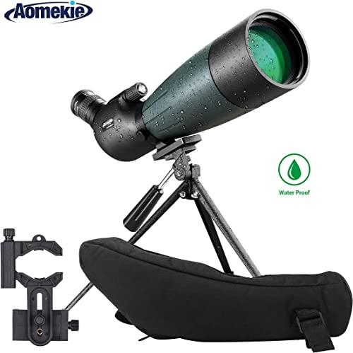 AOMEKIE 20-60X80 Spotting Scope with Tripod Phone Adapter Case for Target Shooting Hunting Bird Watching Waterproof Fogproof FMC BAK4 45 Angled Monocular Telescope