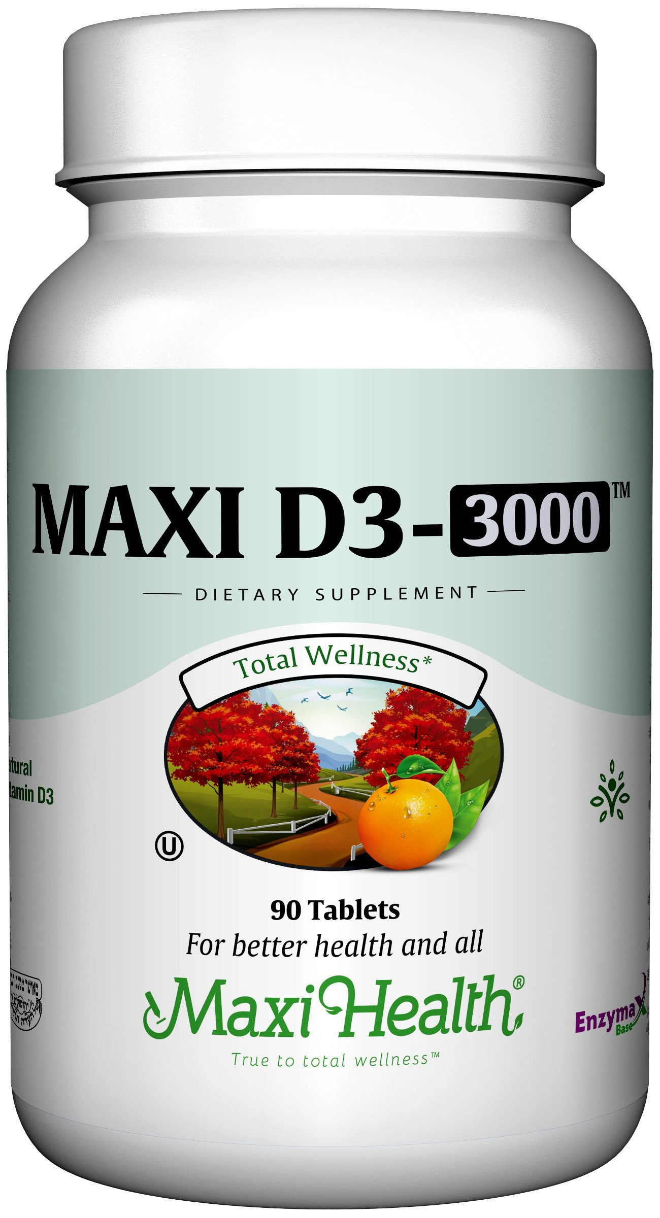 "Maxi Health Natural Vitamin D3 - ""3000 IU"" - Nutrition Supplement - 90 Tablets - Kosher"