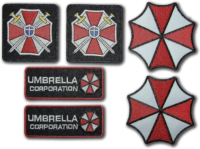 Resident Evil Umbrella Corporation Kostüm Cosplay Patches Set Mit 6 Bestickten Abzeichen Mit Haken Und Schlaufe Auf Der Rückseite Bekleidung