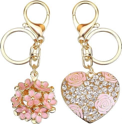Amazon.com: Llavero con diseño de flores y corazón de rosa ...