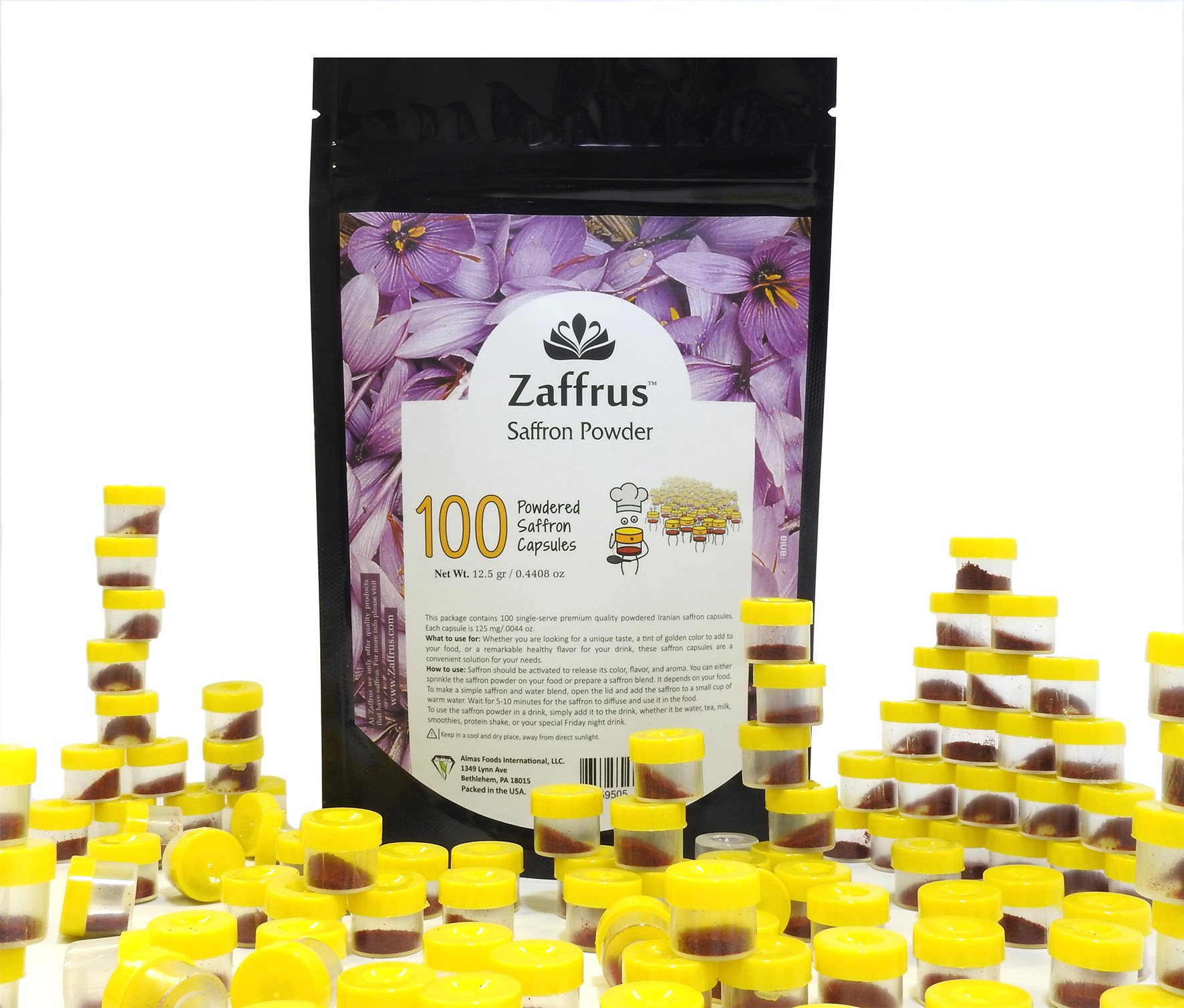 Zaffrus - Premium Saffron Powder for Cooking/Gym-Goers/Specialty Drinks Fans - Pack of 100 (12.5 gr/.4408 oz)