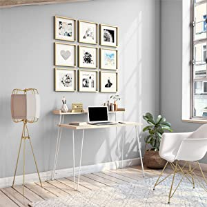 Ameriwood Home Haven Retro Computer Desk with Riser, Natural