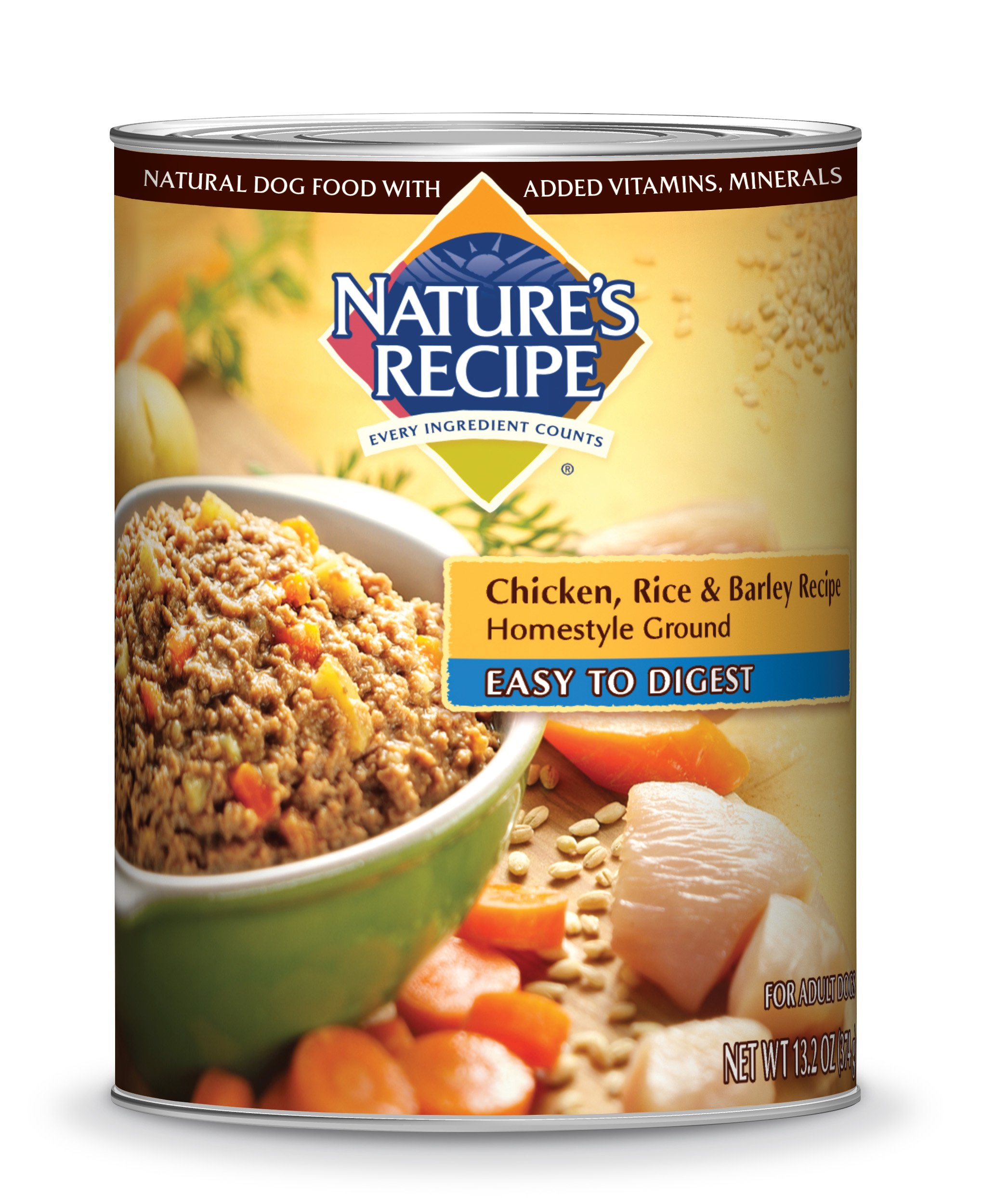 Nature's Recipe Canned Dog Food for Adult Dog, Easy to Digest Chicken, Rice, and Barley Recipe, Homestyle Ground, 13.2 Ounce Cans (Pack of 12)