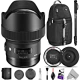 Sigma 14mm f/1.8 DG HSM Art Lens for CANON EF w/Sigma USB Dock & Advanced Photo and Travel Bundle
