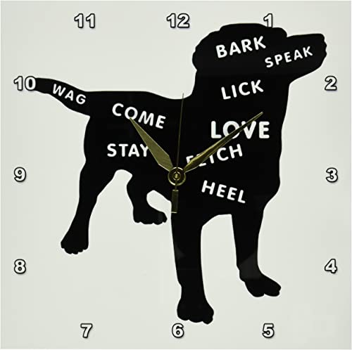 3dRose DPP_80262_1 Doggie Silhouette with Dog Related Words-Wall Clock, 10 by 10-Inch