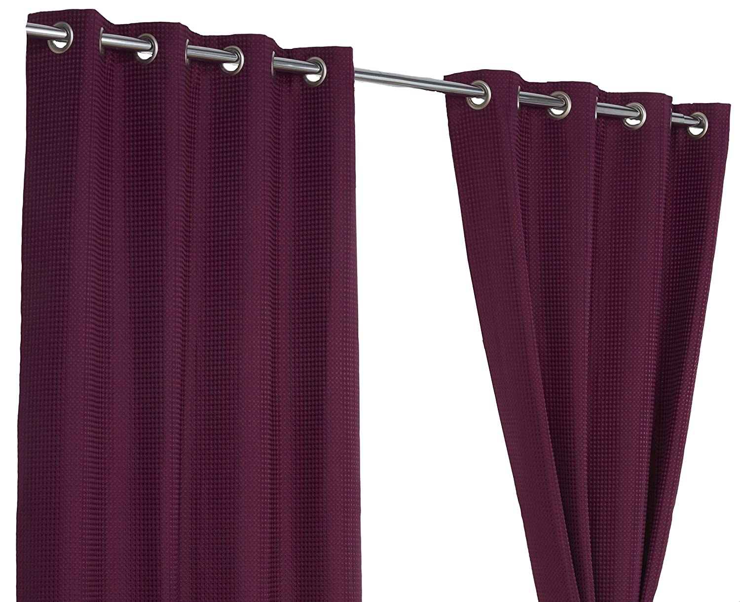 Waffle Brown Ring Top / Eyelet Fully Lined Readymade Curtain Pair 46x54in(116x137cm) Approximately By Hamilton McBride® 4 Your Home