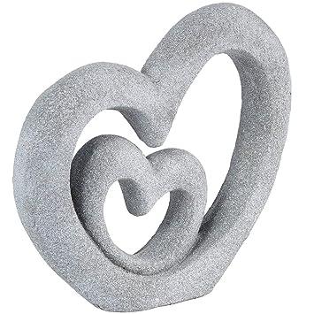Skulptur Herzen Deko Figur Aus Kunststein Garten Deko Liebe Und
