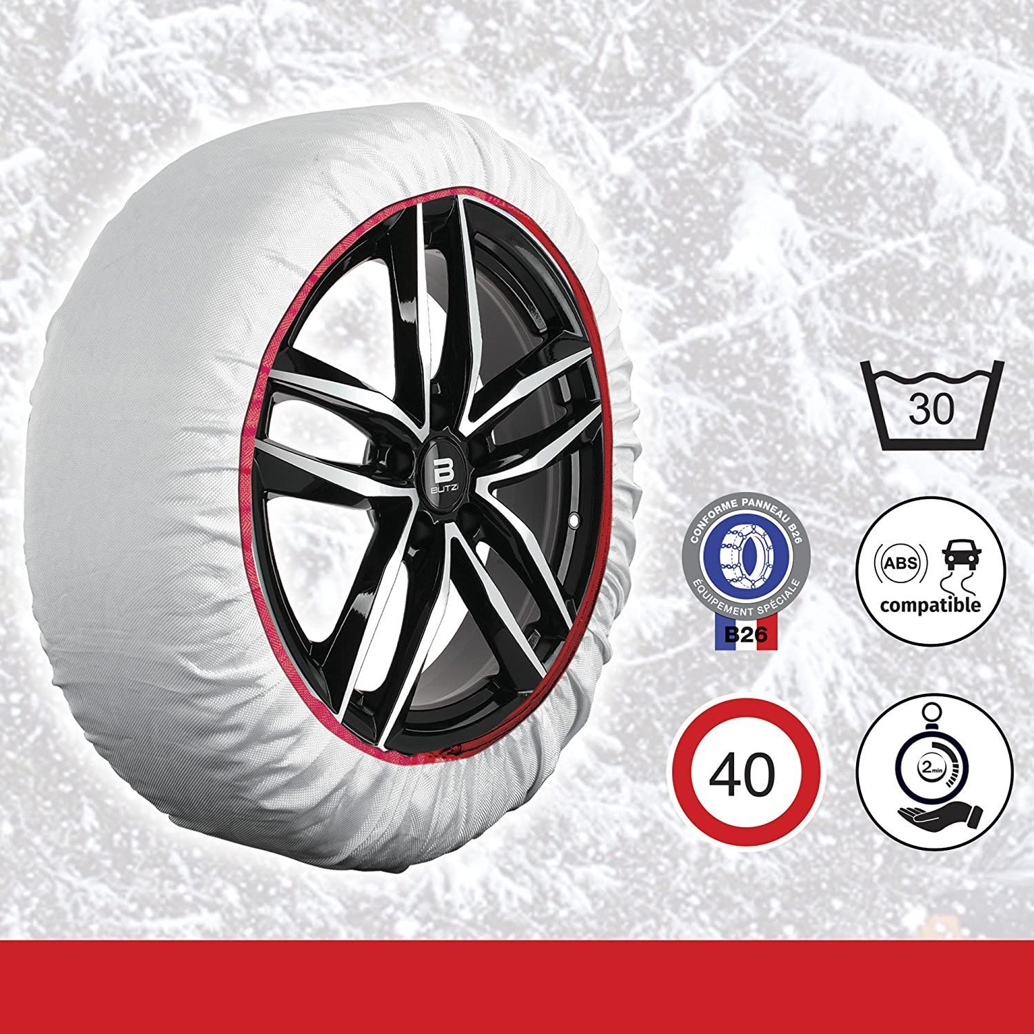 Frost /& Snow Chain Socks for 16 Tyres 235//65 R16 RED /& WHITE Husky Sumex Winter Textile Car Wheel Safety Ice