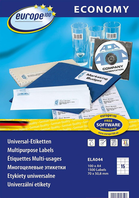 100 Blatt = 5100 Etiketten Format 70 x 16,9 mm selbstklebend auf DIN A4   PRIPA