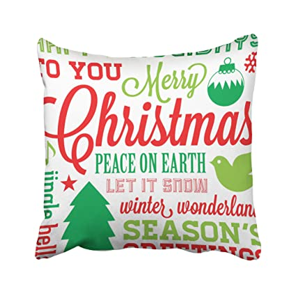 Christmas Subway Art.Amazon Com Emvency Pillowcases Christmas Dec Red And Green