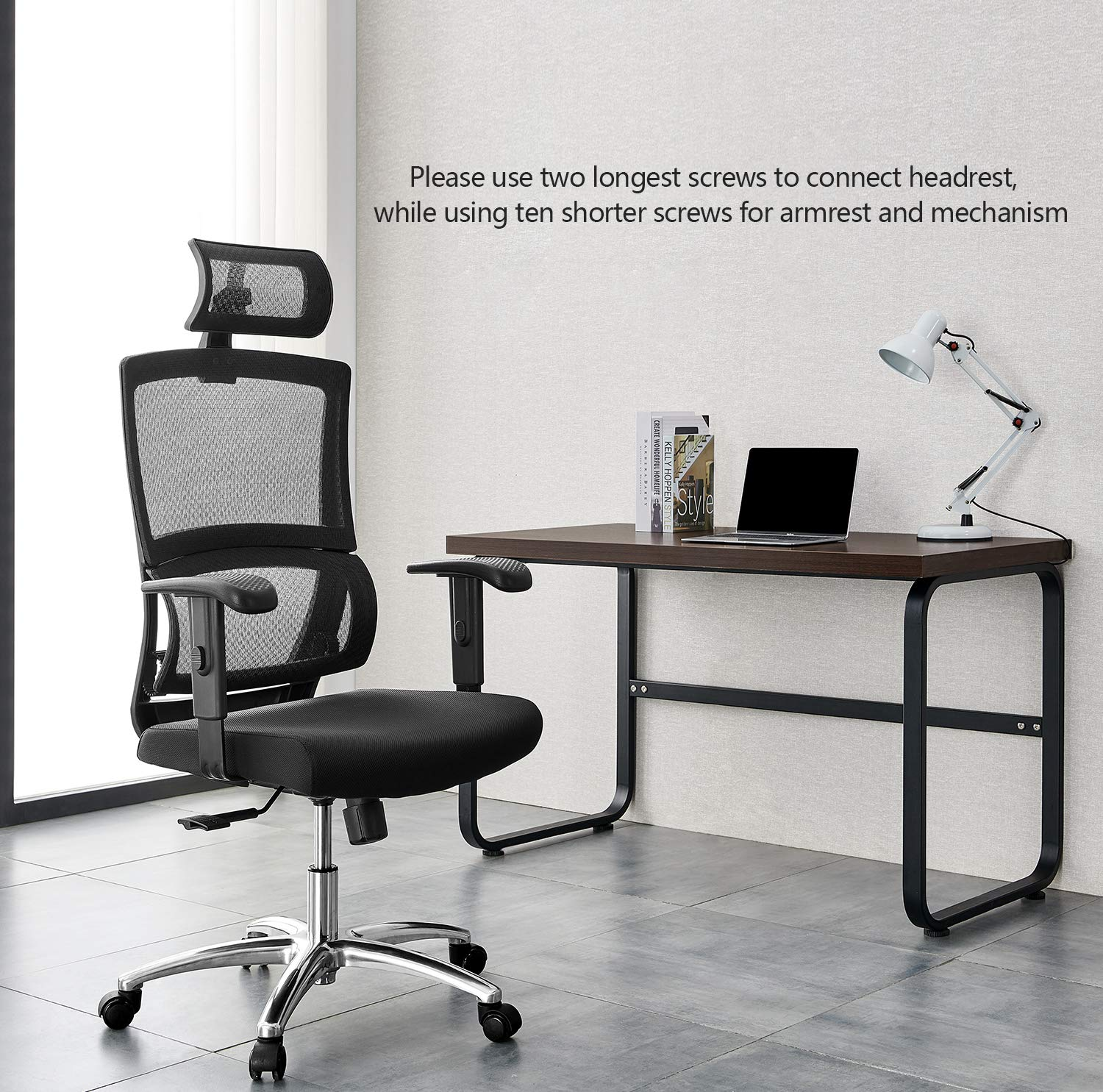 Ticova Ergonomic Office Chair with Unique Elastic Ring Lumbar Support and Thick Seat Cushion- High Back Mesh Chair with Adjustable Headrest and Armrest - Reclinable Computer Desk Chair by Ticova (Image #6)
