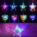 Baoqishan 36PCS Colorful LED sparkle plastic necklace and shining pendants (18pcs pentacle star and 18pcs heart shape)