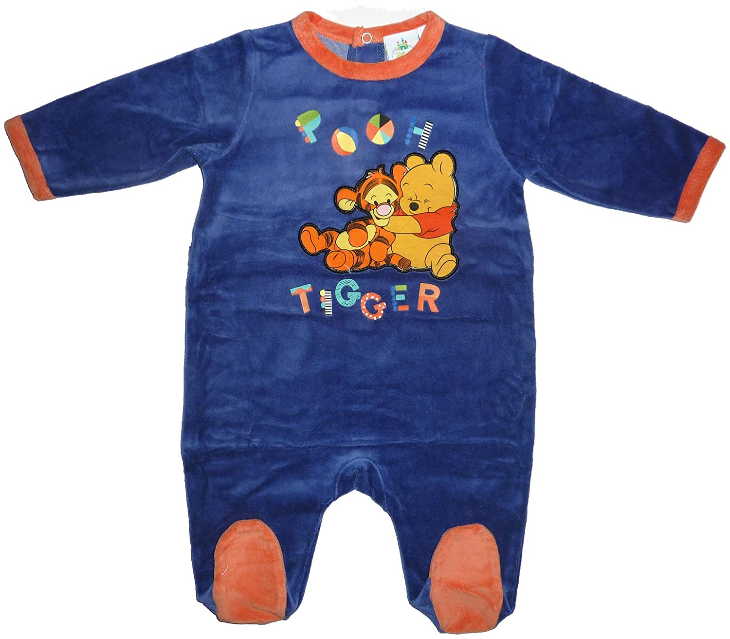 Baby Boys Winnie and Tiger Long Sleeve Ropmer Bodysuit Blue 1-18 Months