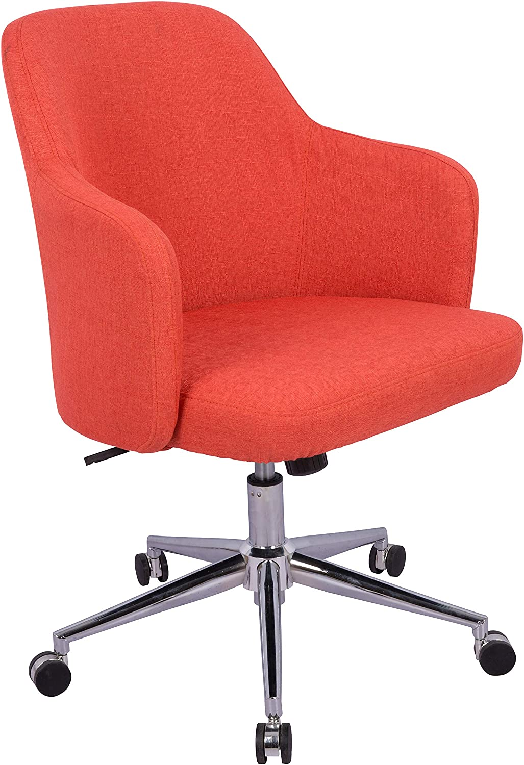 AmazonBasics Classic Adjustable Office Desk Chair - Twill Fabric, Brick Red