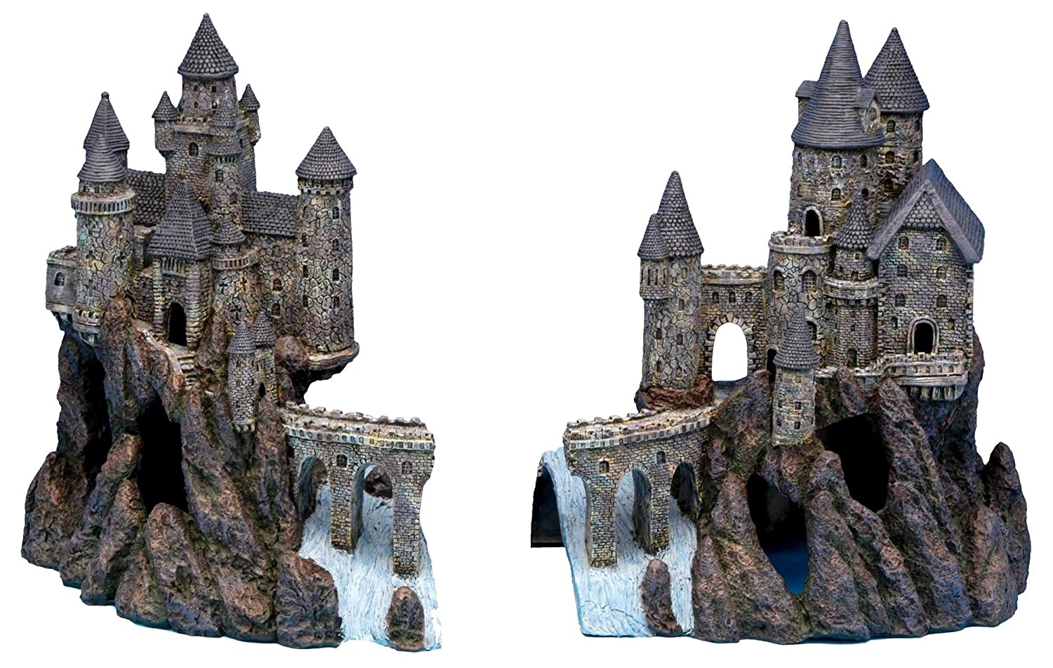 "Penn Plax Super Castle A and Super Castle B for Aquariums- 15""H x 25.6""W x 10""D (Combined Dimensions)"