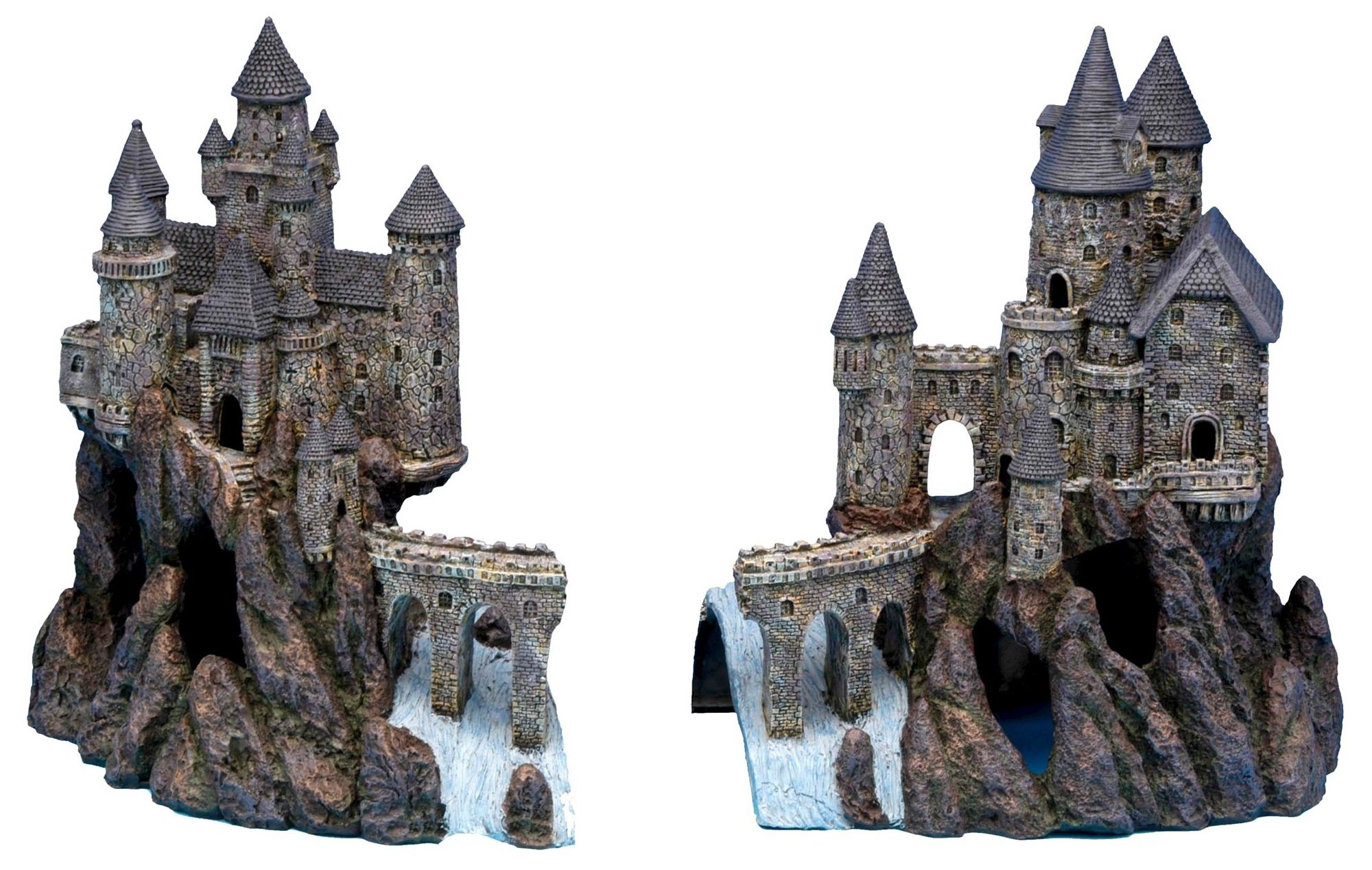 Penn Plax Super Castle A and Super Castle B for Aquariums- 15''H x 25.6''W x 10''D (Combined Dimensions)
