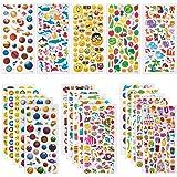 SAVITA Adesivi 3D Stickers per Bambini Scrapbooking Bullet Journal | 20 Fogli Tutti Diversi e più di 1200 Stickers|Animali, Frutta, Pianeti, Espressioni Facciali Carine, Dolci, Vita di Mare Profondo