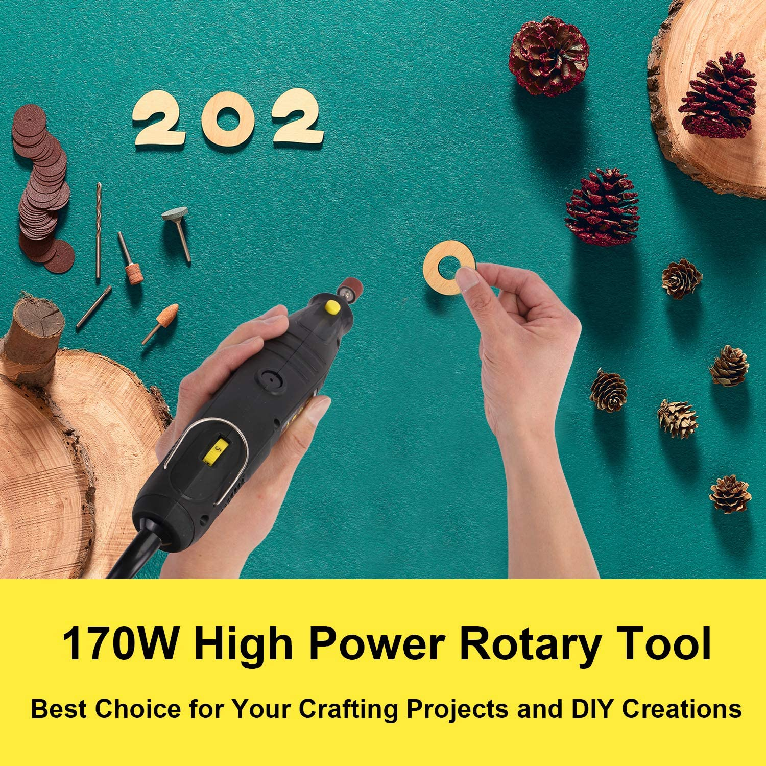 Rotary Tool, 1.5Amp High Power Variable Speed Electric Rotary Tool Kit with Flex Shaft, 3 Attachments and 112pcs Accessories for Crafting Projects and DIY Creations, CUBEWAY - -