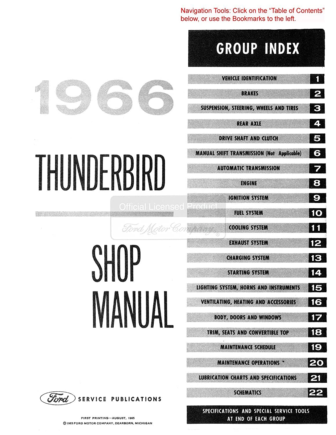 Amazon.com: 1966 Ford Thunderbird Shop Service Repair Manual Book Engine  Drivetrain Wiring: Automotive
