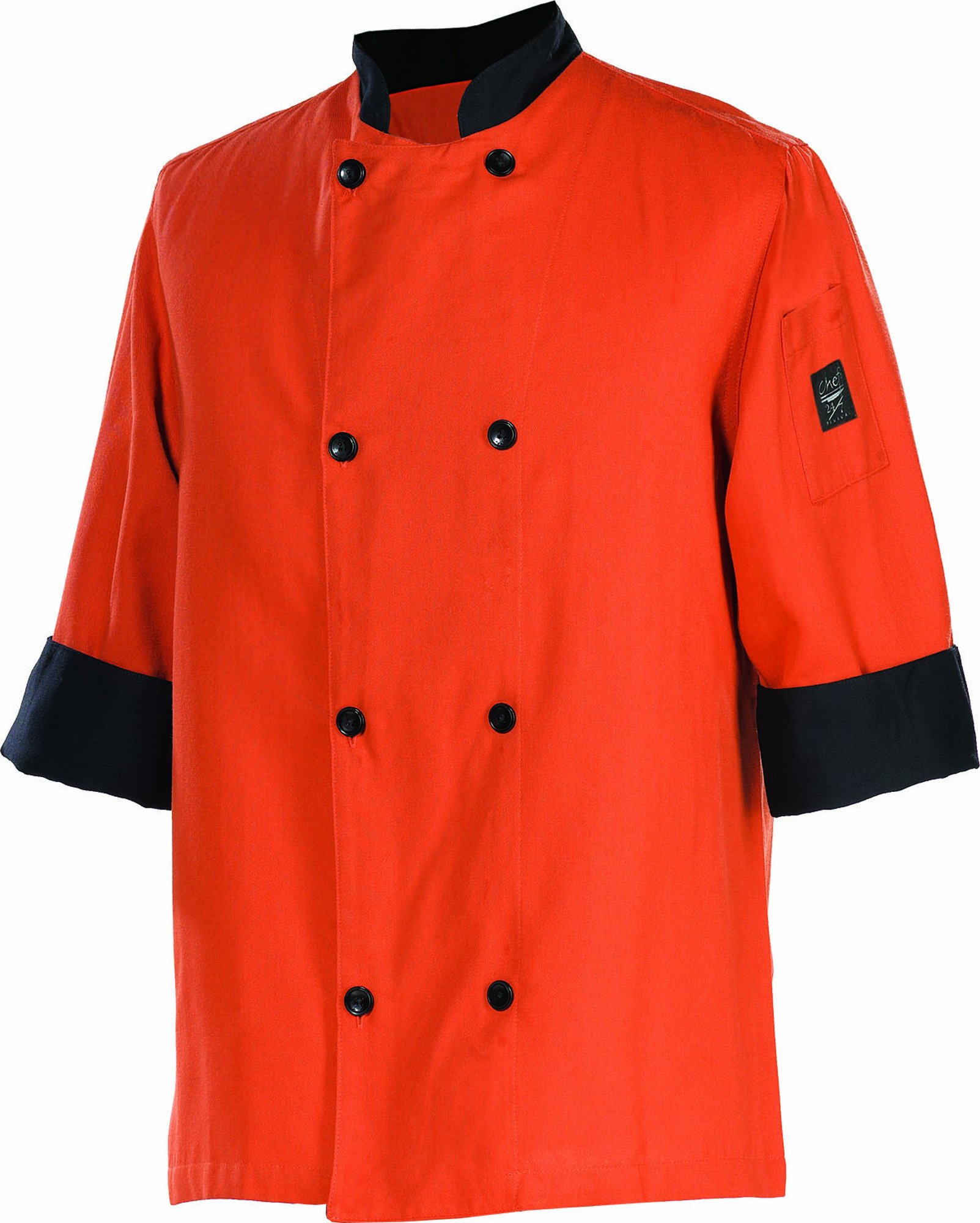 Chef Revival J134SP 24/7 Poly Cotton 3/4 Sleeve Fresh Chef Jacket with Black Trim and Flat Black Button, 5X-Large, Spice