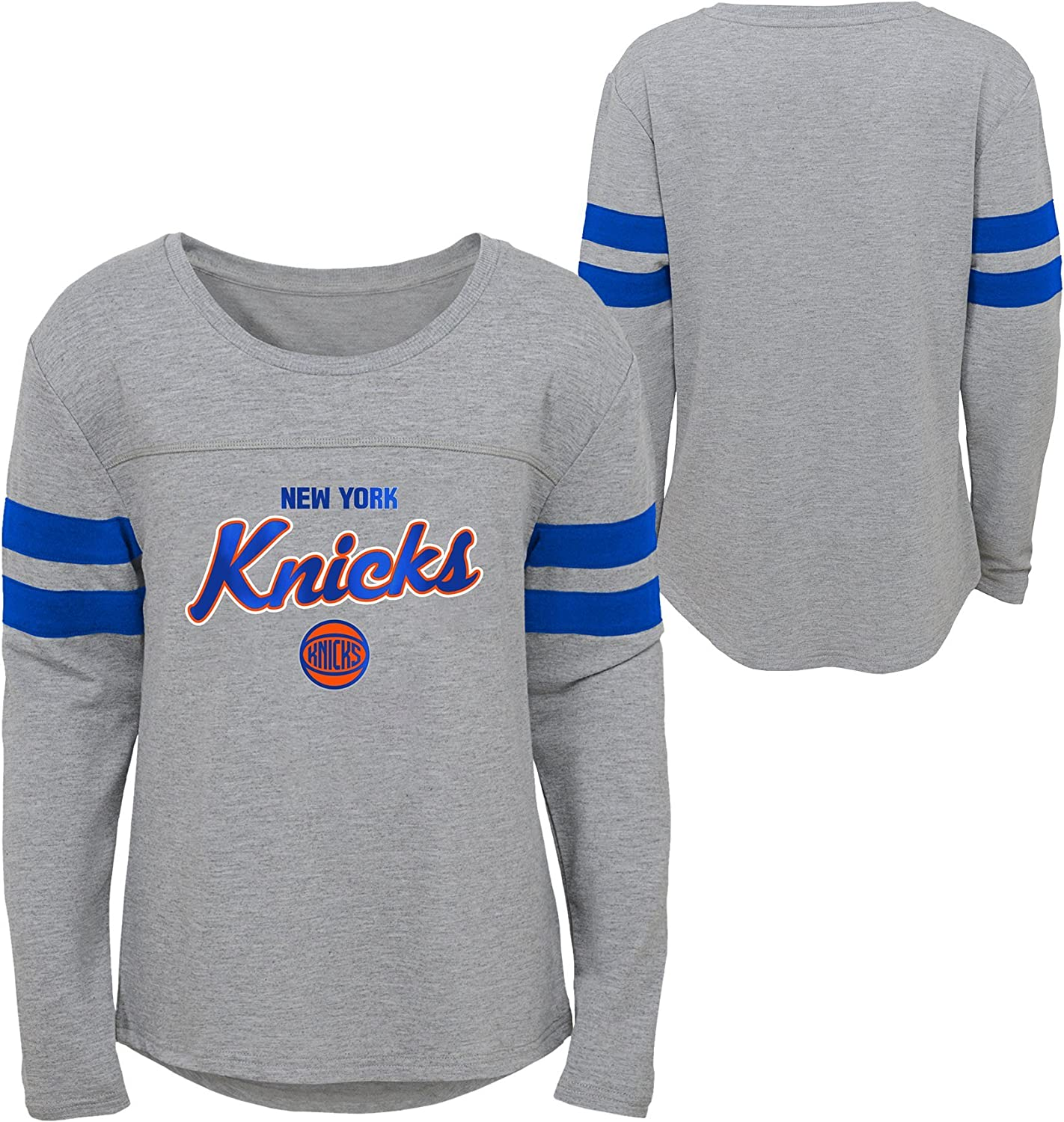 Youth Small Heather Grey NBA by Outerstuff NBA Kids /& Youth Girls New York Knicks 3 Point Long Sleeve Dolman Tee 7-8