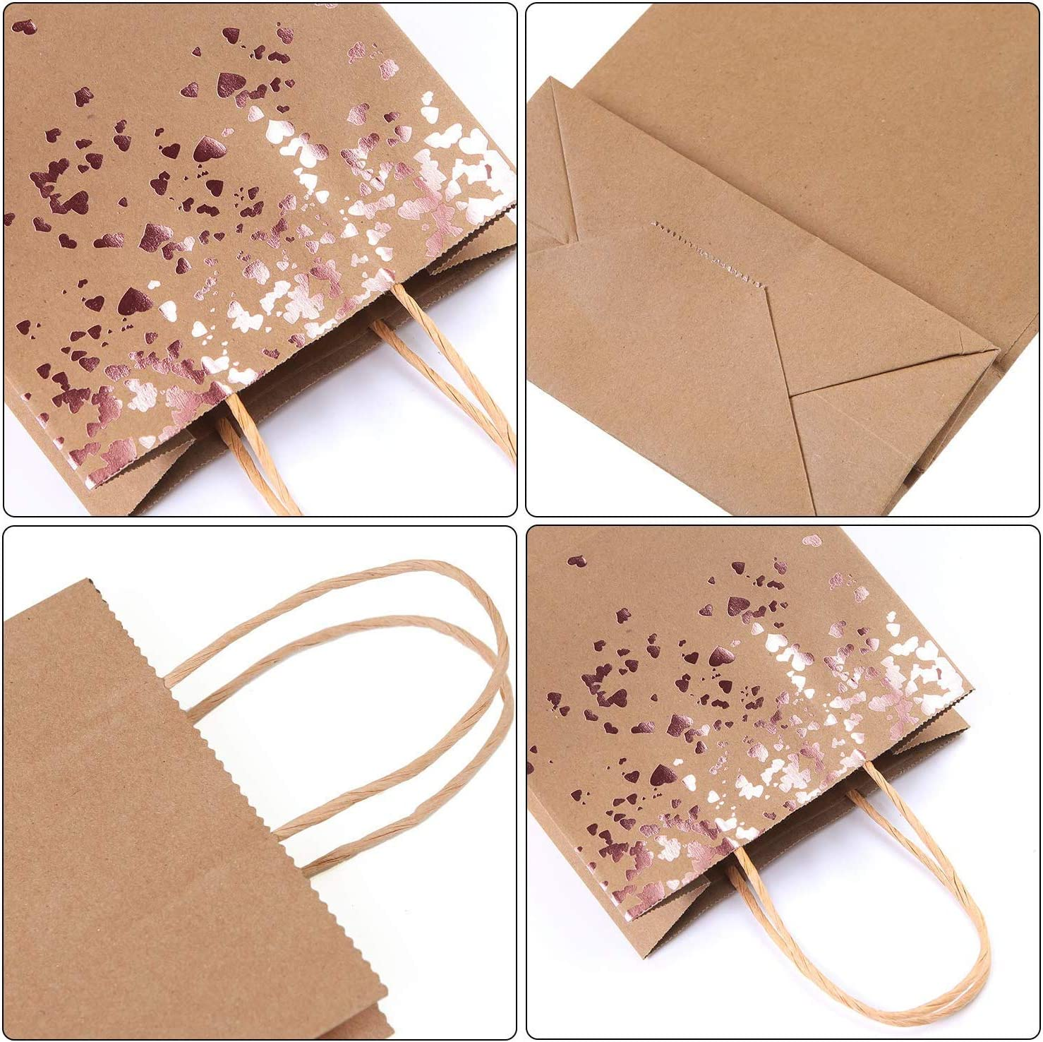 Cooraby 30 Pieces Paper Bags Hen Party Bag Birthday Kraft Bag Bronzing Rose Gold Party Favor Bags with Handle for Birthday Wedding and Party Celebrations Tea Party Gift Style A