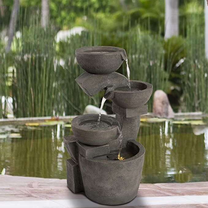 Relaxing and Soothing Modern Outdoor Four Tiered Fountain Cascading Water Floor Fountain 42 Inch High Resin Fiberglass Water Fountain Homelity 4-Tier Rock Water Fountain with LED Lights
