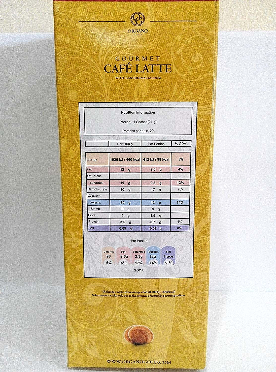15 Boxes - Organo Gold Gourmet Cafe Latte Coffee With Ganoderma Lucidum (20 Sachets/box)
