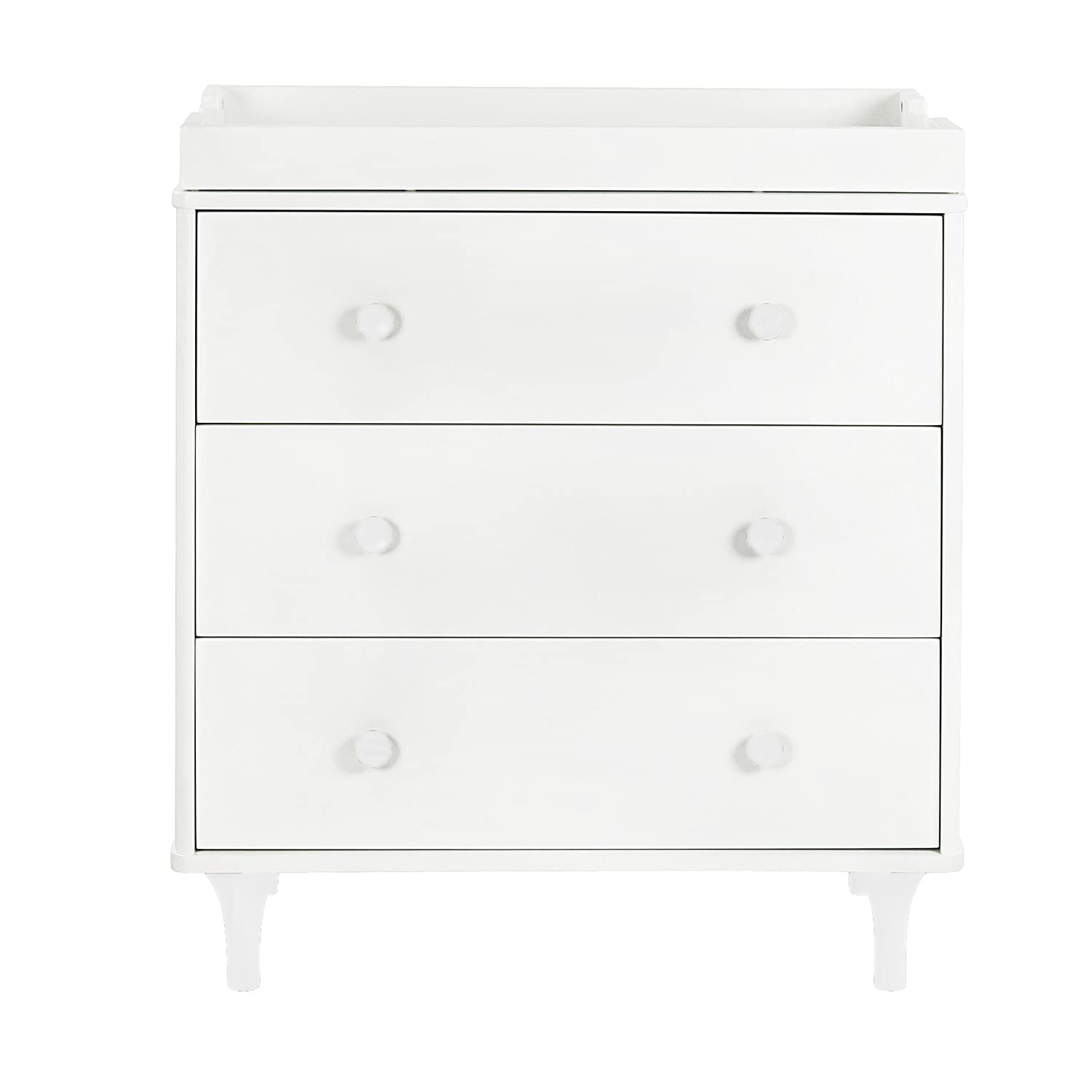 Babyletto Lolly 3-Drawer Changer Dresser with Removable Changing Tray, White / Natural M9023WN