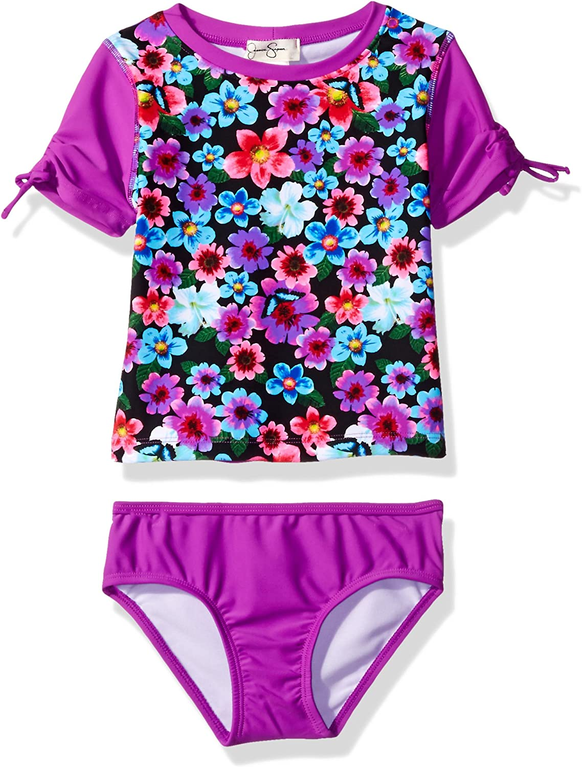 Jessica Simpson Girls Floral Rashguard Two Piece Swimsuit Set