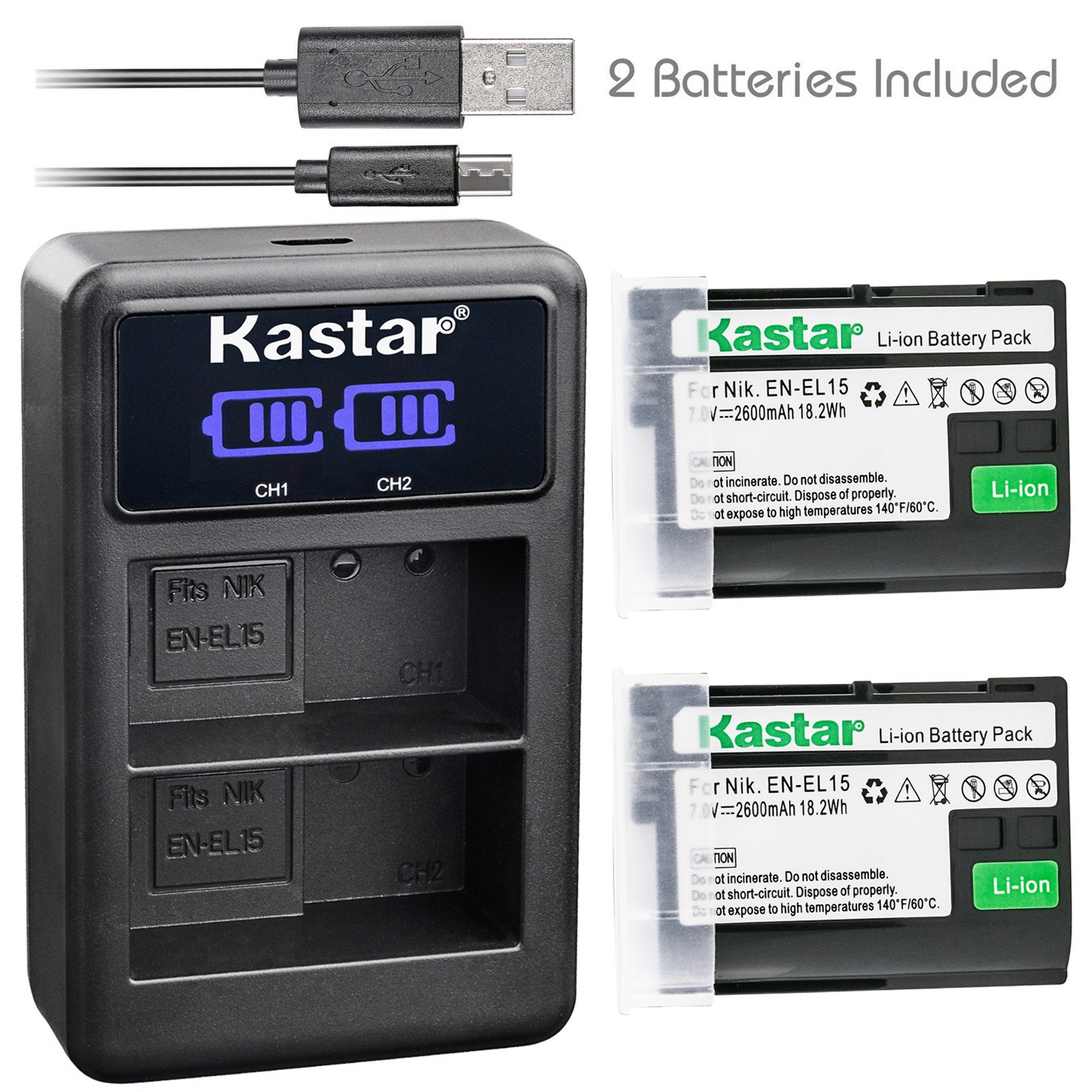 Kastar Battery (X2) & LCD Dual Charger for Nikon EN-EL15 Battery, Nikon MH-25 Charger and Nikon 1 V1 D500 D600 D610 D750 D800 D800E D810 D810A D850 D7000 D7100 D7200 D7500 Digital Cameras
