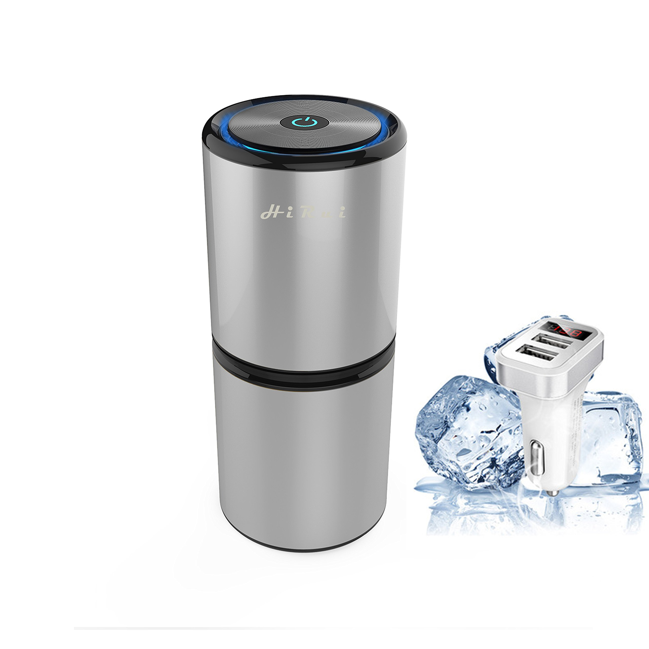 HiRui Car Ionizer Air Purifier Car Air Freshener Ionic Air Cleaner Release Anion   Best Odors Eliminator Remove Formaldehyde/Tobacco Smoke/PM 2.5/Dust - Available For Automobile and Small Room(Silver)
