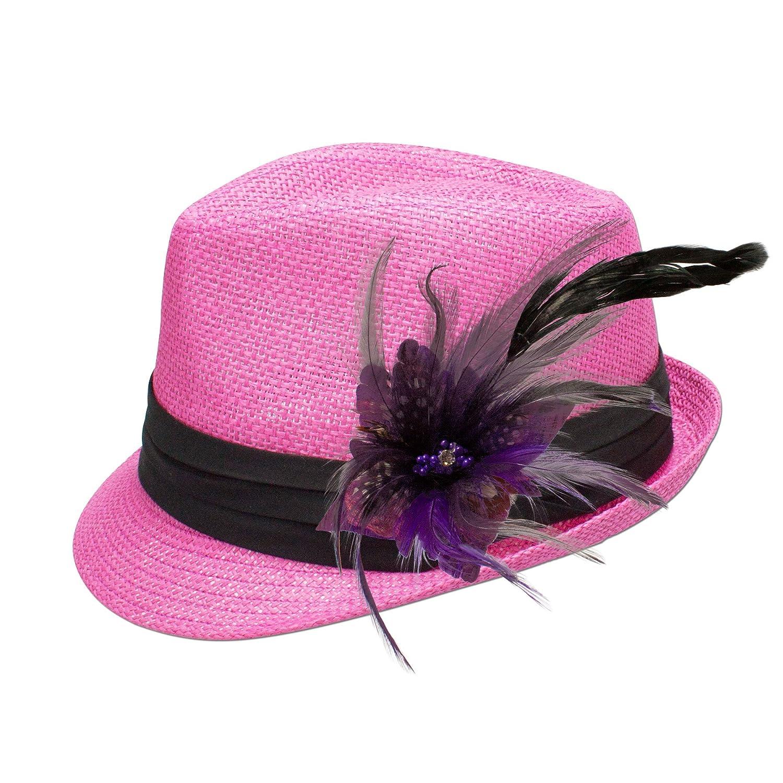 Alpenflüstern Damen Strohhut Trachtenhut pink mit Feder-Clip ADV04800070 lila