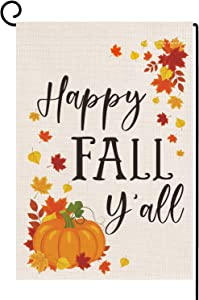 Dazonge Happy Fall Y'all Garden Flag | Vertical Double Sided Small Fall Yard Flag 12.5''x18'' | Farmhouse Flag for Fall Decor Outdoor | Thanksgiving Yard Decorations