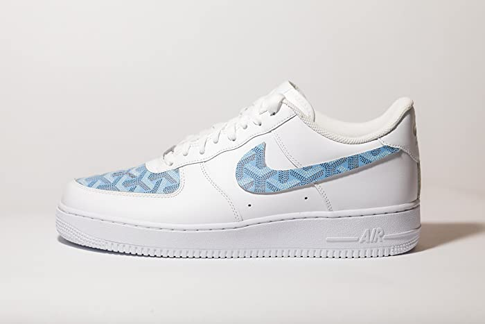 b2a0ff9c632a Amazon.com  Nike Air Force 1 AF1 Custom Baby Blue GYard Inspired Premium  Edition  Handmade