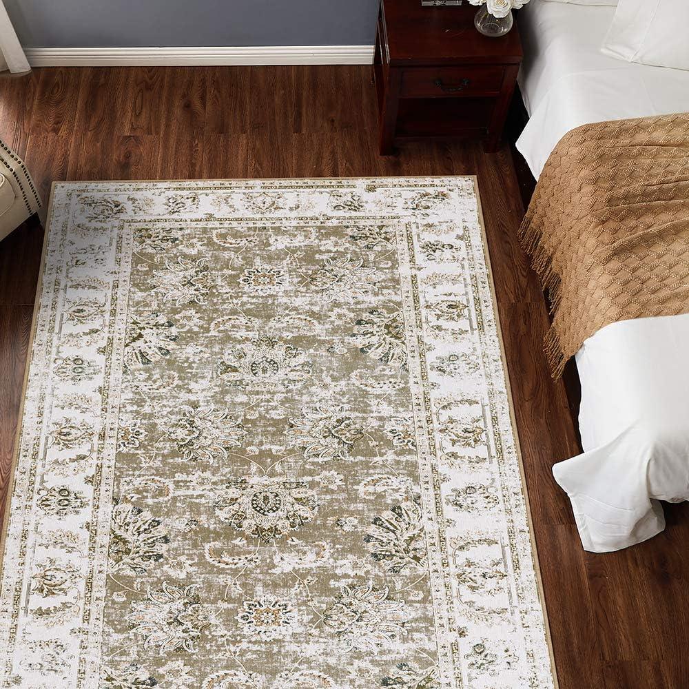 jinchan Elegant Floral Vintage Area Rug Floorcover Indoor Low Pile Mat for Kitchen Living Room Bedroom Taupe 3'x 5'3