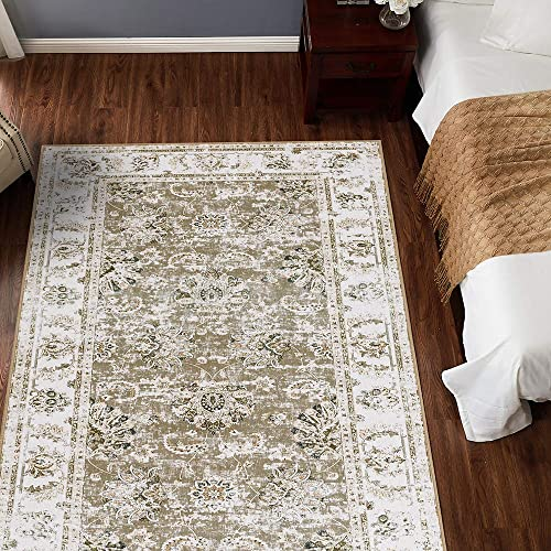 ADGO Ravenna Collection Vintage Abstract Erased Damask 5 x 9 Shabby Chic Modern Area Rug