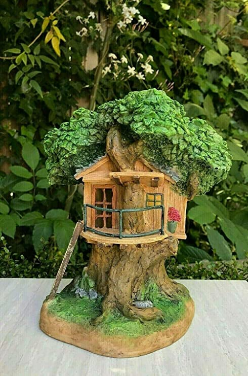 "TALL 11/"" Fairy Miniature GNOME GARDEN House ~ Tree House Treehouse Cottage NEW"