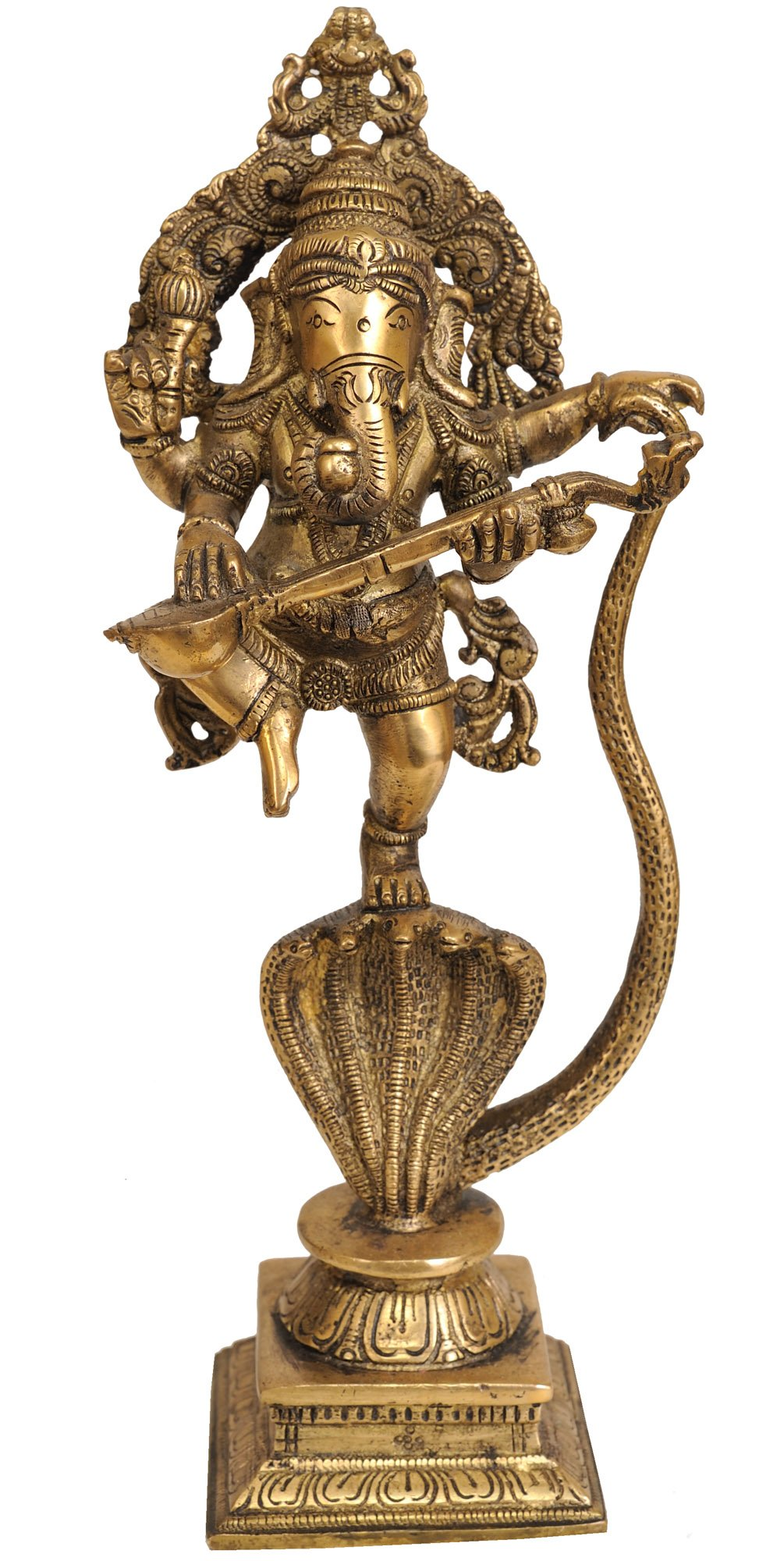 Lord Ganesha Dancing on Five-Hooded Serpent with Veena - Braas Statue