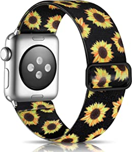 Getino Adjustable Elastic Band Compatible with Apple Watch 40mm 38mm iWatch SE & Series 6 5 4 3 2 1, Soft Stylish Cute Stretchy Woven Fabric Wristband for Women Men, Black Sunflower Pattern