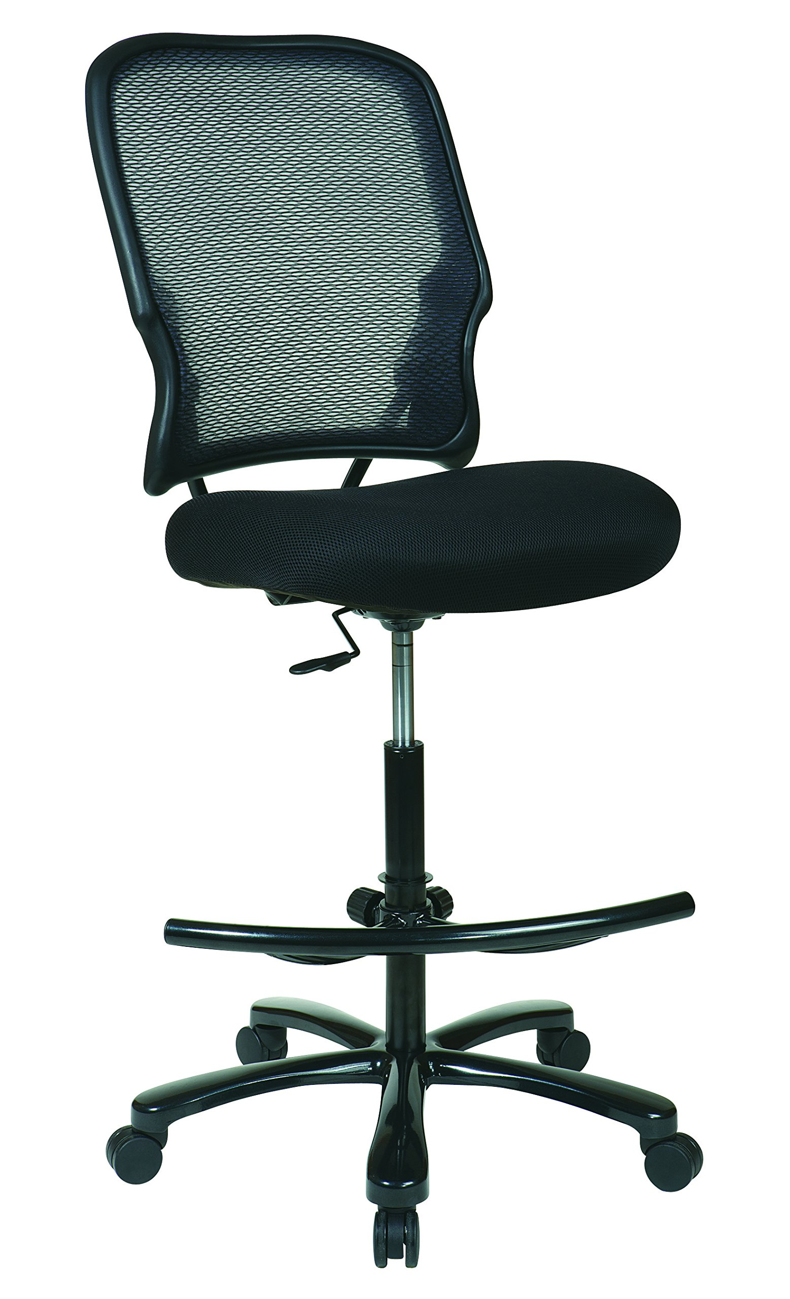 SPACE Seating Big and Tall Dual Layer AirGrid Back with Mesh Seat, Adjustable Footring and Gunmetal Finish Base Drafting Chair, Black