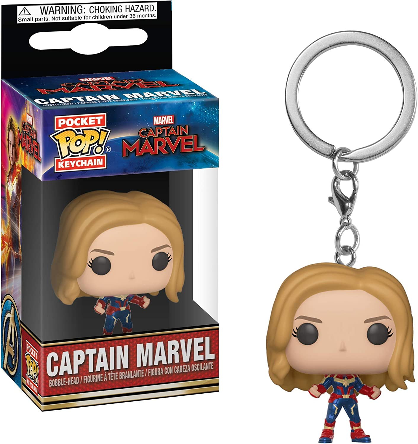 Funko- Keychain Llavero Pocket Pop Capitana Marvel, Multicolor ...