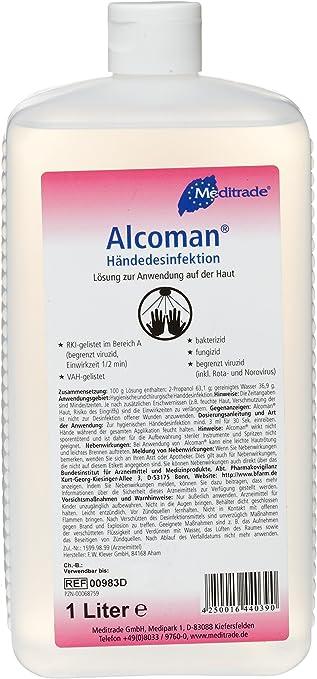 Alcoman Handedesinfektion Flasche 1 Liter Amazon De Drogerie