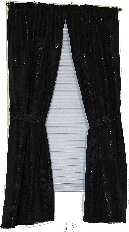 Carnation Home Fashions Lauren Dobby Fabric Bathroom Window Curtain, 34-Inch by 54-Inch, Black