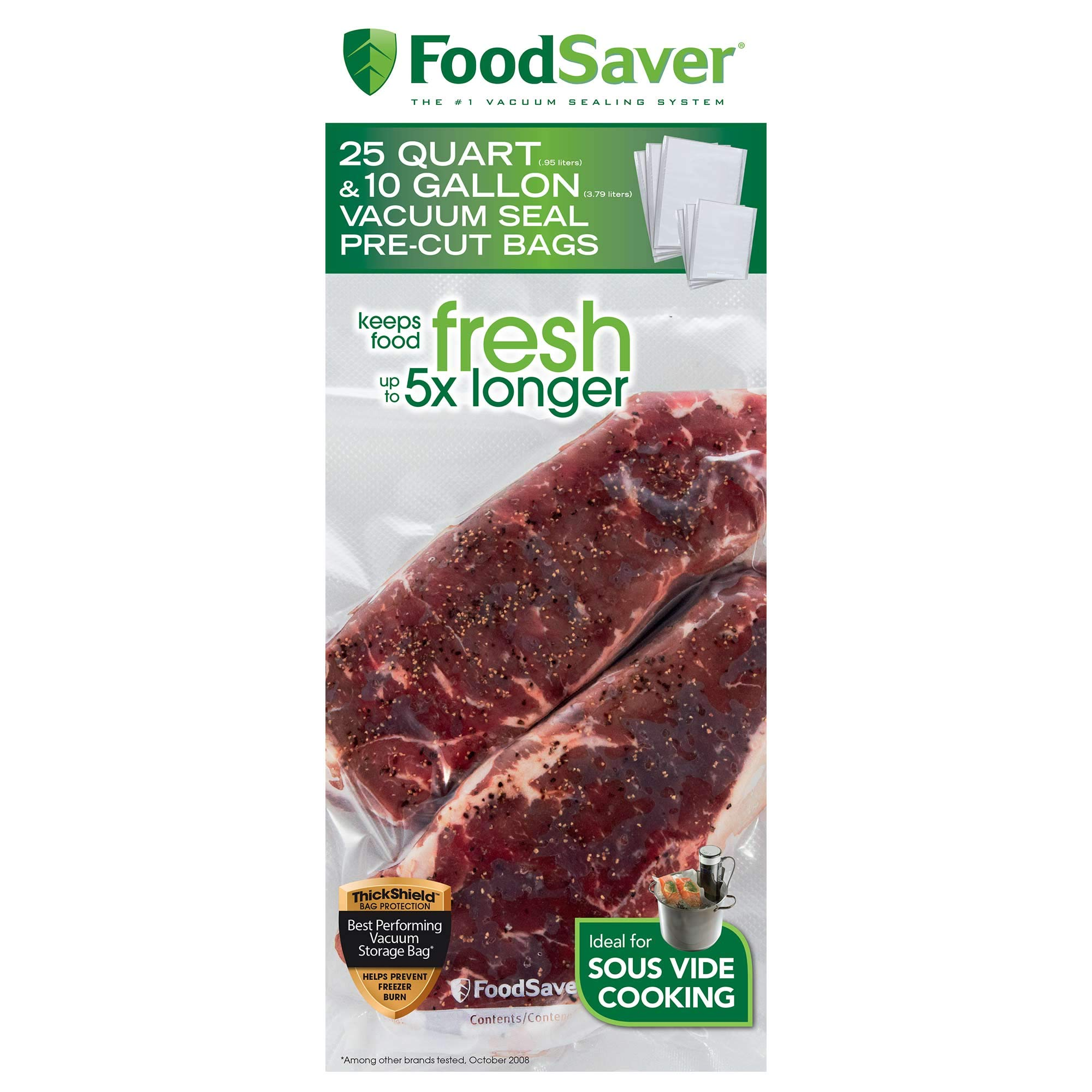 FoodSaver FBSQ25G10-NP Pre-Cut Vacuum Seal Bags Combo Pack for Food Preservation & Sous Vide Cooking, 25 Quart-Size & 10 Gallon-Size Bags by FoodSaver