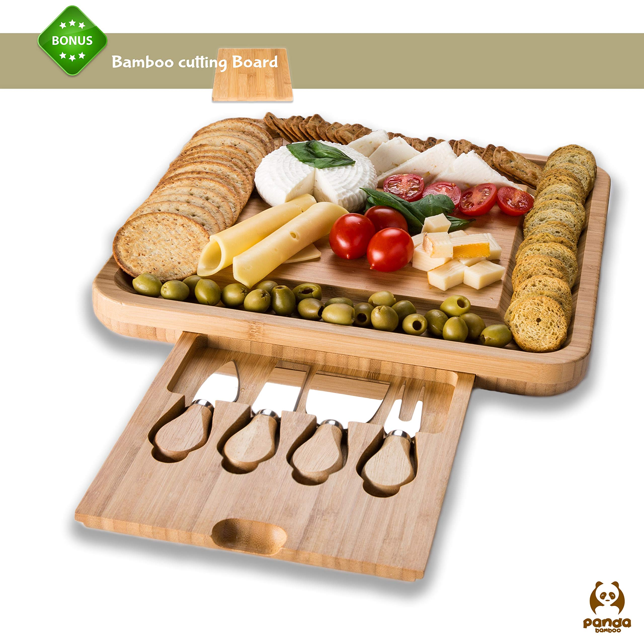 Bamboo Cheese Board and Cutlery Set With Slide-Out Drawer by Bamboo Panda - Perfect Serving Tray with 4 Stainless Steel Cutlery Knife Set – Perfect Gift for Kitchen