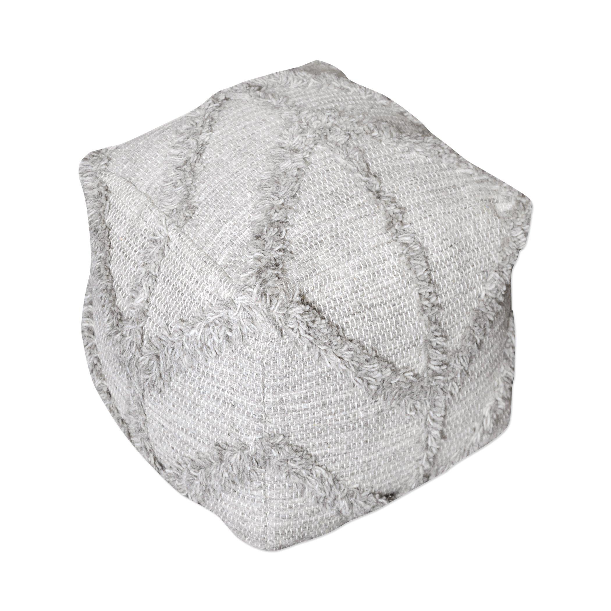 Chevron Gray Textured Fringe Wool Pouf   Cube Raised Shaggy Retro Seat Square