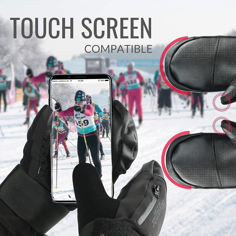 devembr Skif/äustlinge Wasserdicht Snowboardhandschuhe Skihandschuhe Touchscreen Kompatibel F/äustlinge Snowboard mit Handgelenkschutz S//M//L