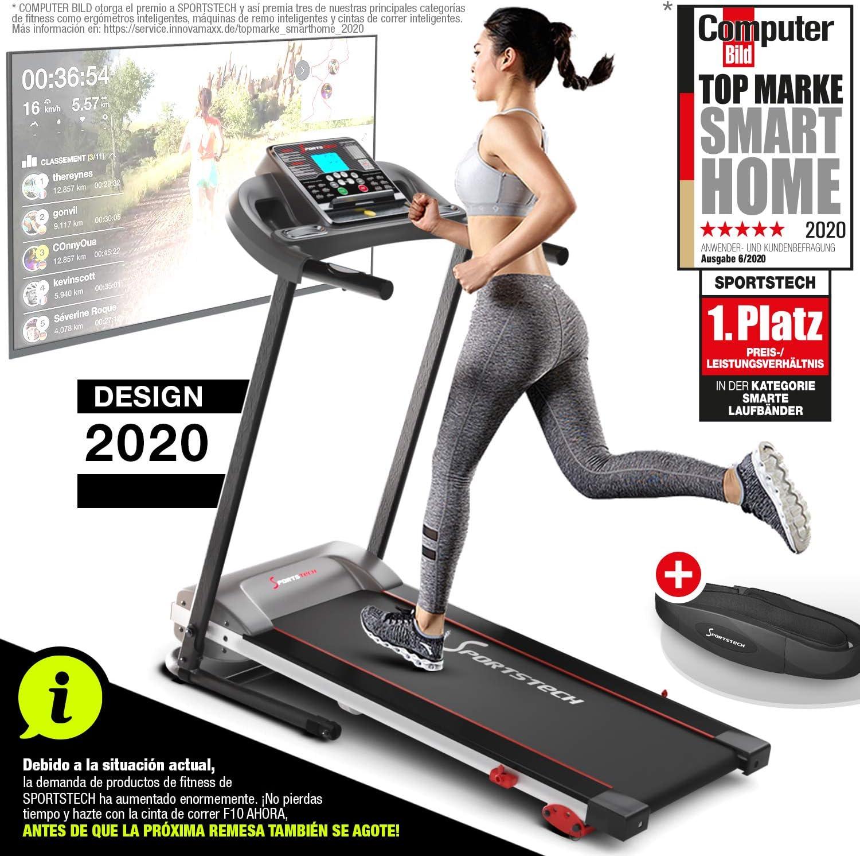 Sportstech F10 Cinta de Correr Modelo 2020 - Marca de Calidad Alemana + Video Eventos y App multijugador - Nueva Consola - | 1HP a 10 km/h | Cinta de Andar con 13 programas, inclinable + Plegable