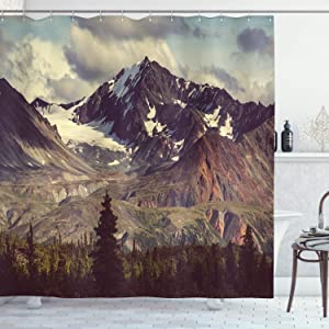 """Ambesonne Alaska Mountains Shower Curtain, Arctic Landscape Hiking Alaska Mountains Scenery in USA Wilderness, Cloth Fabric Bathroom Decor Set with Hooks, 70"""" Long, Green Blue"""
